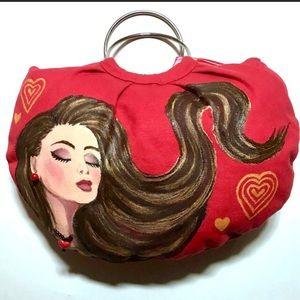"Handbags - HP!🤩Hand Painted Upcycled 10x16"" Artisan Handbag!"